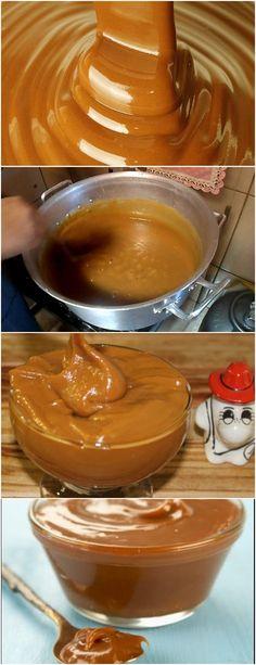 Doce de Leite Cremoso Rápido! Coloque o leite condensado em uma panela para cozinhar, mexendo sempre. #receita#bolo#torta#doce#sobremesa#aniversario#pudim#mousse#pave#Cheesecake#chocolate#confeitaria Bread Cake, Chocolate Cake, Food And Drink, Mousse, Cheesecake, Sweet, Desserts, Recipes, Desert Recipes
