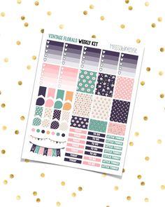 VINTAGE FLORALS Weekly Kit  Navy Pink Green by MissSabineElise