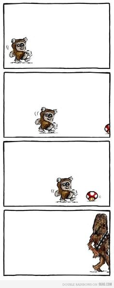So this is what happens when an Ewok eats a Mario Mushroom...He becomes a Wookie!