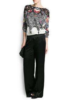 Floral print lace blouse #mango