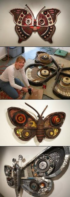 Artist Michelle Stitzlein's 'Moth' series is a collection of large, incredibly detailed, sculptures of moths created from recycled items such as: license plates, car parts, piano keys, broken china, rusty tin cans, electrical wire, bottle caps, mirrors, trash can lids, bicycle tires, scrap wood, aluminum siding, faucet handles, oil drum lids and phone hand sets.