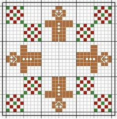 Cross-stitch Christmas Biscornu... no color chart available, just use the pattern chart as your color guide.. or choose your own colors...