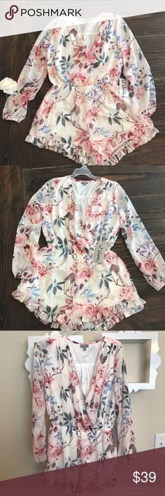 NWT Gorgeous Floral Romper by J FOR JUSTIFY  Fast seller!! Super cute romper by J FOR JUSTIFY. Brand new, never worn with tags (I have two). Cream color with colorful flower pattern. Lined body with semi sheer sleeves. V neck. Cute ruffles at bottom. Size Large. J For Justify Pants Jumpsuits & Rompers
