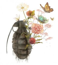 Love the masculine and feminine, war and peace juxtaposition of this piece. Harley is my war soldier mila is my peace