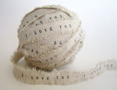 Ribbon personalized ribbon 4 Yards linen by TheLonelyHeart on Etsy, $10.00