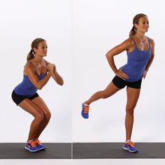 Pin for Later: Squeeze in This 15-Minute Butt Workout, and Your Bikini Will Thank You Narrow Squat With Back Kick