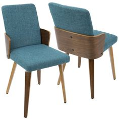 Image result for Ariana Mid-Century Modern Chair, Walnut and Beige, Set of 2
