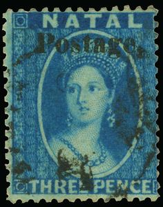 "Philasearch.com - Natal, Scott 19A, SG 34. 19A (34) 1869 3d blue Q Victoria overprinted ""Postage."" SG Type 7b (12¾mm long), perf 14, vastly undercatalogued as only 2 or 3 panes were printed with this stamp only occurring 20 times, lightly canceled, thin spot at top, VF, with BPA certificate  Erhaltung   Anbieter Colonial Stamp Company  Saalauktion Ausruf: 535.00 US$ (ca. 424 EUR) Union Of South Africa, Crown Colony, Rare Stamps, West Africa, Stamp Collecting, Mail Art, Label Design, Postage Stamps, Queen Victoria"