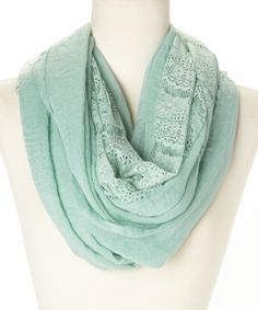 Mint Lace Infinity Scarf | zulily  - to go with my gray maxi dress or orange t-shirt