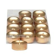 """Add a sophisticated touch of Christmas magic with these 12 tealight candles in elegant gold. Beautiful and classy. 6"""" x 3"""" x 1.5"""""""