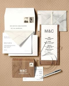 Wedding Stationery Inspired by Art Movements: Minimalist Midcentury