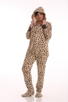 Wild style leopard print footed pajamas from www.funzee.com