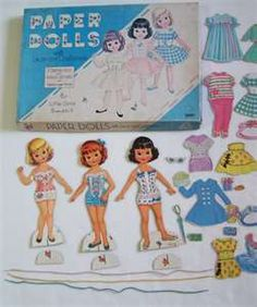 Paper Dolls with Lace on Clothes   Carol, Linda, and Bunny 1960s