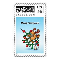 Reindeer in a Christmas tree Postage Stamp. #Zazzle #Cardvibes #Tekenaartje #SOLD