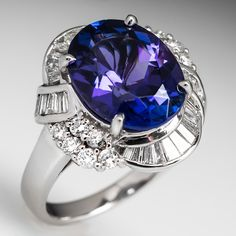 5.5 Carat Oval Tanzanite Diamond Cocktail Ring Platinum