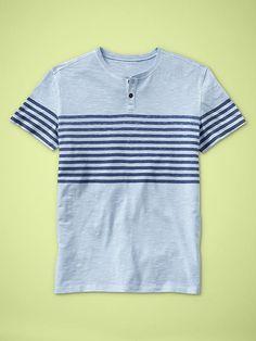 Mens striped henley slub T. Looks like a really laid back shirt, plus I love the stripes that it has!