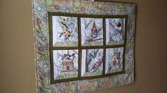 Sage green wall hanging featuring birds and by djwquilts on Etsy