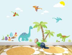 Dinosaur Nursery Wall Art Stickers / Decals - pinned by pin4etsy.com