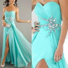 New Crystals Prom Pageant Gown Ball Evening Party Formal Dresses from ILoveCuteShoes.com