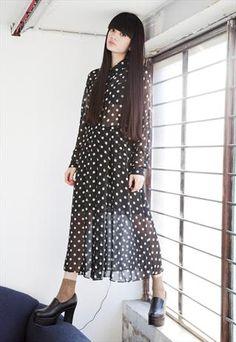 Long Polka Dot Chiffon Shirt Style Dress £60.00