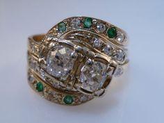 Antique Old Euro Cut Diamond Emerald Ring 14k Gold 1ct | eBay