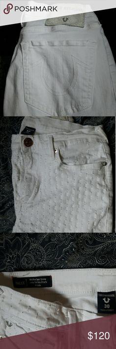 Size 30 Bright white True Religion jeans Extremely well kept True Religion jeans. White, Halle, Mid-rise super skinny. Make an offer! True Religion Jeans Skinny