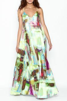 Nicole Miller Watercolor Print Maxi Dress - Main Image