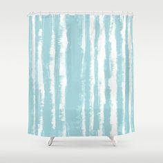 Shibori Stripe Seafoam Shower Curtain by ninamay | Society6