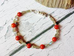 $30.90 Coral and Labradorite Bracelet by BlueWorldTreasures