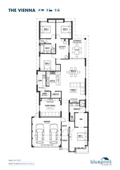 The Vienna, 4 bedroom home design, Perth floorplans Garage Entry, Double Garage, House Blueprints, Display Homes, Architecture Plan, Design Awards, House Floor Plans, Perth, Vienna