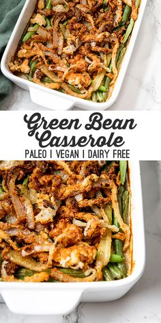 This paleo green bean casserole is the real deal! It's made with homemade cr… This paleo green bean casserole is the real deal! It's made with homemade cream of mushroom soup, french fried onions, and is free of grains and dairy! Paleo Vegan, Paleo Dairy, Vegan Food, Paleo Green Beans, Vegan Green Bean Casserole, Paleo Thanksgiving, Vegetarian Recipes, Healthy Recipes, Dairy Recipes