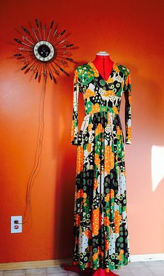 Vintage 60s Mr Bob PSYCHEDELIC Maxi Dress M on Etsy, $46.00