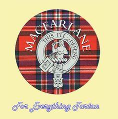 For Everything Genealogy - Clan MacFarlane Clan Crest Tartan Cork Round Coasters Set of 2, $12.00 (http://foreverythinggenealogy.mybigcommerce.com/clan-macfarlane-clan-crest-tartan-cork-round-coasters-set-of-2/)