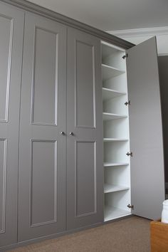 Make w/pullout shelves for food pantry, small appliances that are not used frequently, bottled water, dog food containers, TP, kitchen towels, etc.