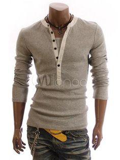 Light Gray Buttons Long Sleeves Men's T-Shirt