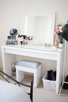 My Dressing Table and Makeup Collection My Dressing Table and. - - My Dressing Table and Makeup Collection My Dressing Table and Makeup Collection Vanity Room, Vanity Desk, Makeup Table Vanity, Makeup Vanities, My New Room, My Room, Makeup Rooms, Makeup Desk Ikea, Bedroom Dressers