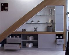 A small decor and storage under the stairs by Bar Under Stairs, Kitchen Under Stairs, Space Under Stairs, Staircase Storage, Stair Storage, Staircase Design, Stairways, Home And Living, Sweet Home
