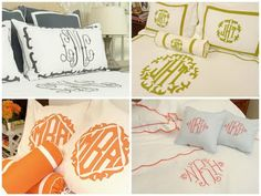 Monogrammed linens. Maybe the big classic curly monogram with the extra touch of the bottom right one?