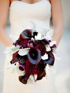 Burgundy wedding flower bouquet - too dark? Flower Bouquet Wedding, Floral Wedding, Wedding Colors, Wedding Styles, Lily Bouquet, Maroon Wedding, Burgundy Wedding, Fall Wedding, Burgundy Bouquet