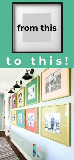 A photo gallery wall is a great way to display family photos. Learn how we did it in this post! Home Design, Design Design, Interior Design, Wall Design, Design Ideas, Gallery Wall Layout, Gallery Walls, Painted Vinyl Floors, Diy Furniture Projects