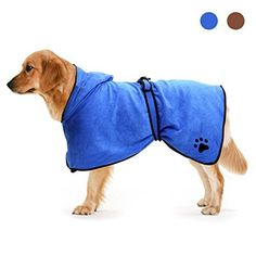 Awhao Bathrobe for Dogs Soft Pet Bathrobe Microfibre Dog Robe Dog Towel Quick Drying Blue 75CM: Amazon.co.uk: Pet Supplies