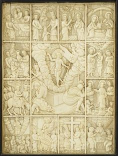 Ivory icon of the Great Feasts, the ivory plaque carved in bas-relief with traditional iconography of Easter surrounded by the Twelve Great Feasts, each with inscribed legend, in a cheval-style ebonized wood frame, Russia 19th Cent.