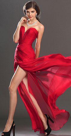 Stylish Red Evening Dress