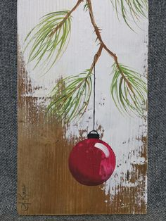 Red Christmas decoration, Christmas Gift, Pine Branch with RED Bulb, hand painted Reclaimed barnwood Shabby Chic Christmas, Christmas Wood, Christmas Signs, Christmas Projects, Holiday Crafts, Christmas Bulbs, Christmas Carol, Painted Christmas Tree, Handmade Christmas Cards