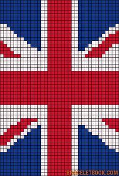 Alpha Pattern Union Jack British England Flag Cross Stitch Weaving Chart