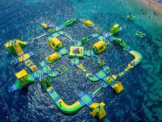 Take the children to this floating playground in Croatia!  Wibit Sports GmbH is a German water sports company that produces innovative, water-based playgrounds created by architect Robert Cirjak. This one is located near Zlatni Rat in Bol, Croatia, and features swings, slides, and climbing structures. It's one of 60 playgrounds the company has designed in waters across Croatia.