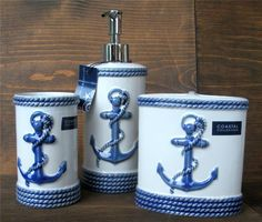 Coastal Collection Anchor Soap Pump Dispenser Toothbrush Holder Cup Nautical Set…