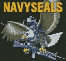 Cross Stitch Chart of Navy Seals Eagle on Black BG