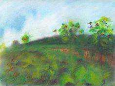 """""""Land of the Macaw,""""  Pastel, 9x12 in.  Sarah Szabo (2012)"""