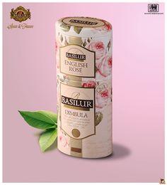 Packaging. 2+1 Fruits&flowers Collection Lata superior ENGLISH ROSE: Té negro puro 100% de Ceilán, pétalos de rosa, cártamo y aroma de rosa. Lata inferior DIMBULA: Té negro puro de tipo FBOP 100% de Ceilán cultivado en altura. BASILUR TEA SPAIN&FRANCE